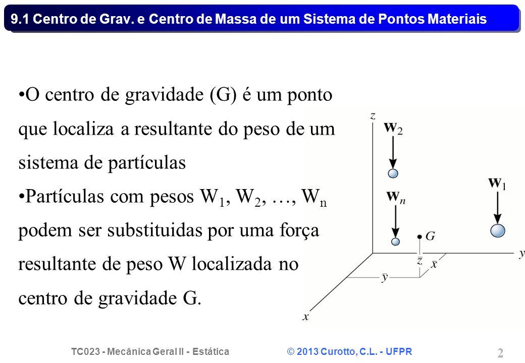 TC023 - Mecânica Geral II - Estática © 2013 Curotto, C.L. - UFPR 2 •O centro de gravidade (G) é um ponto que localiza a resultante do peso de um siste