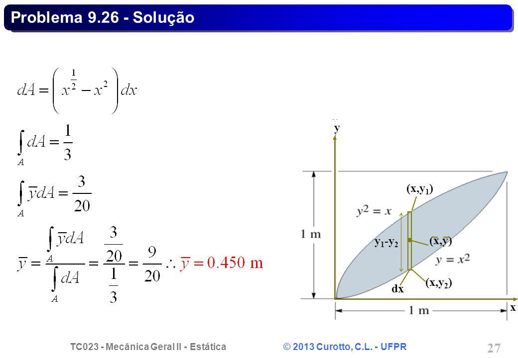 TC023 - Mecânica Geral II - Estática © 2013 Curotto, C.L. - UFPR 27 (x,y 1 ) (x,y) dx (x,y 2 ) y 1 -y 2 x y Problema 9.26 - Solução