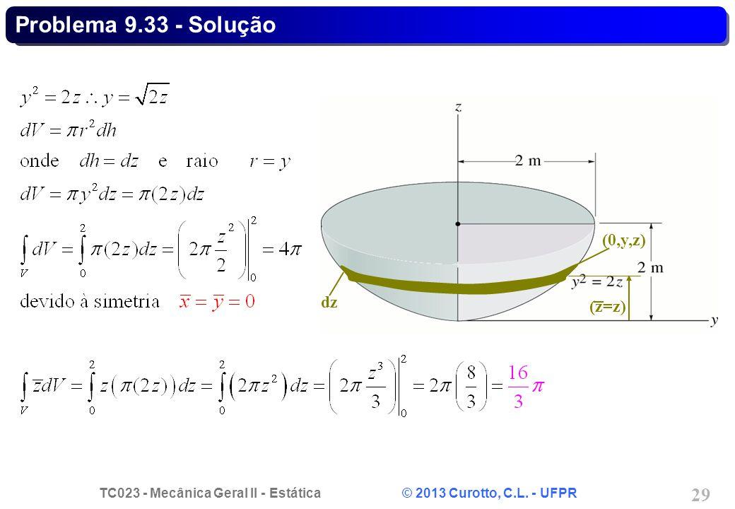 TC023 - Mecânica Geral II - Estática © 2013 Curotto, C.L. - UFPR 29 (0,y,z) (z=z) dz Problema 9.33 - Solução
