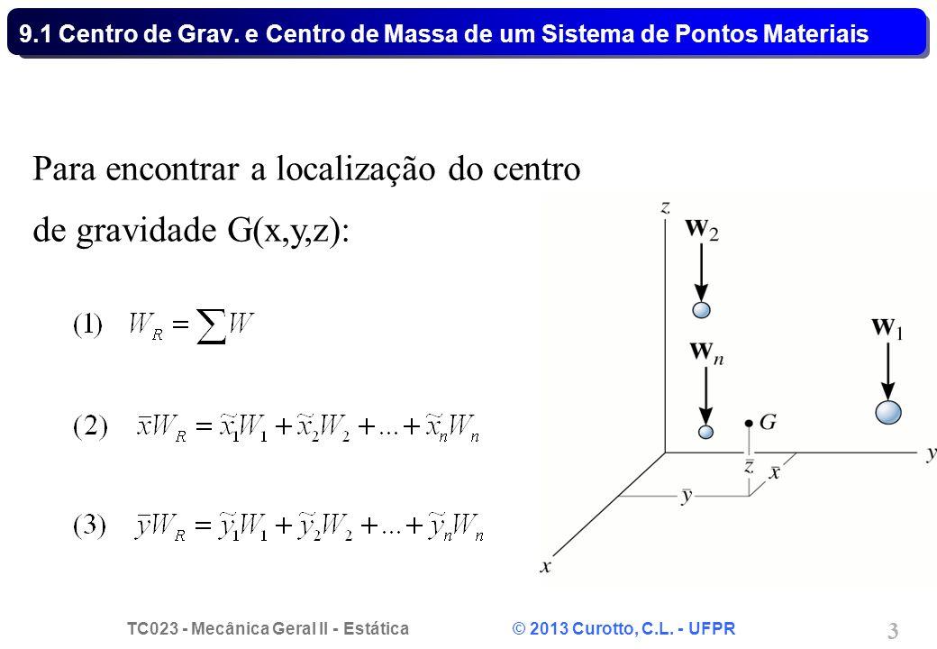 TC023 - Mecânica Geral II - Estática © 2013 Curotto, C.L. - UFPR 3 Para encontrar a localização do centro de gravidade G(x,y,z): 9.1 Centro de Grav. e