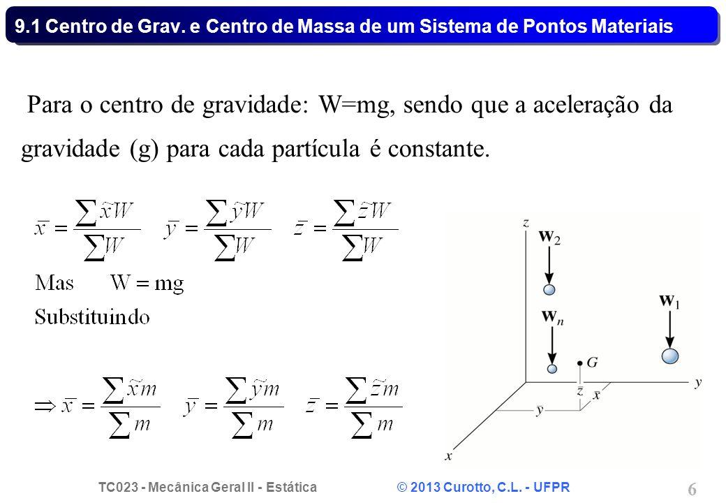 TC023 - Mecânica Geral II - Estática © 2013 Curotto, C.L. - UFPR 6 Para o centro de gravidade: W=mg, sendo que a aceleração da gravidade (g) para cada