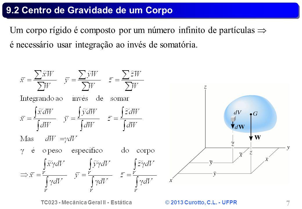 TC023 - Mecânica Geral II - Estática © 2013 Curotto, C.L. - UFPR 7 9.2 Centro de Gravidade de um Corpo Um corpo rígido é composto por um número infini