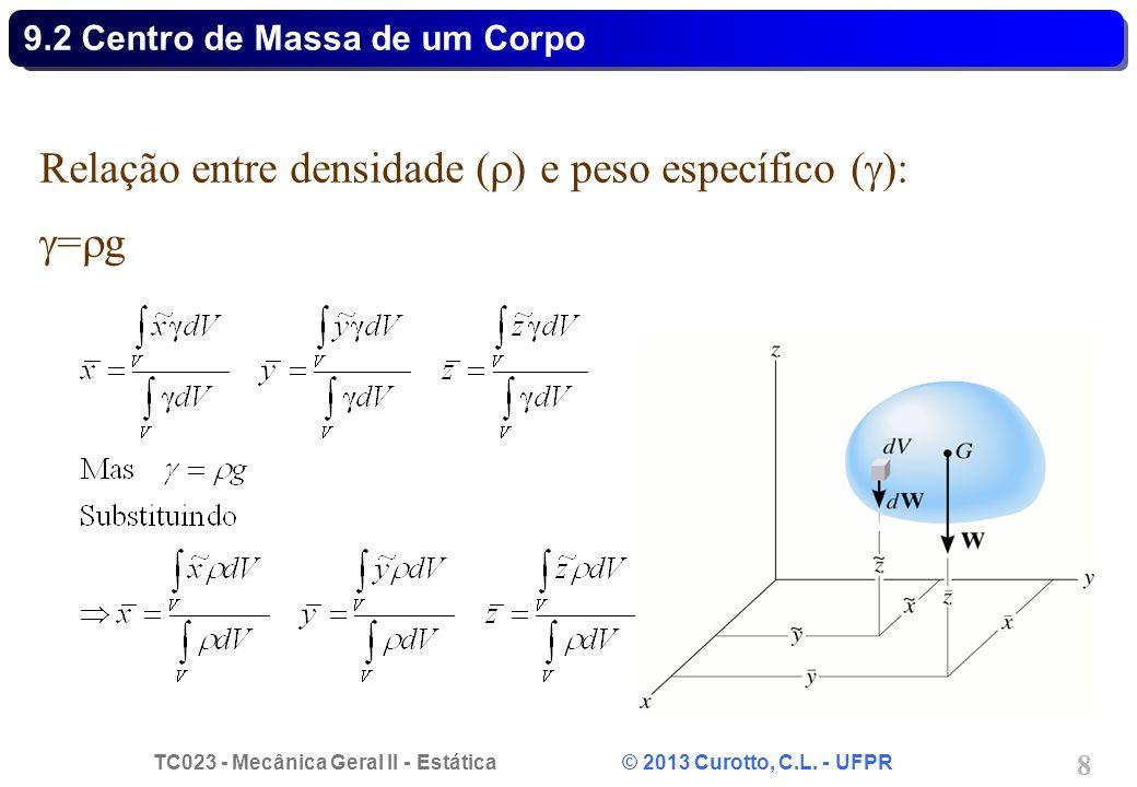 TC023 - Mecânica Geral II - Estática © 2013 Curotto, C.L. - UFPR 8 Relação entre densidade (  ) e peso específico (  ):  =  g 9.2 Centro de Massa