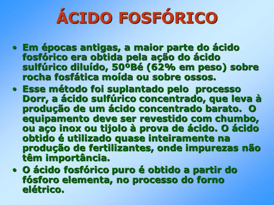 ÁCIDO FOSFÓRICO •Em épocas antigas, a maior parte do ácido fosfórico era obtida pela ação do ácido sulfúrico diluído, 50ºBé (62% em peso) sobre rocha fosfática moída ou sobre ossos.
