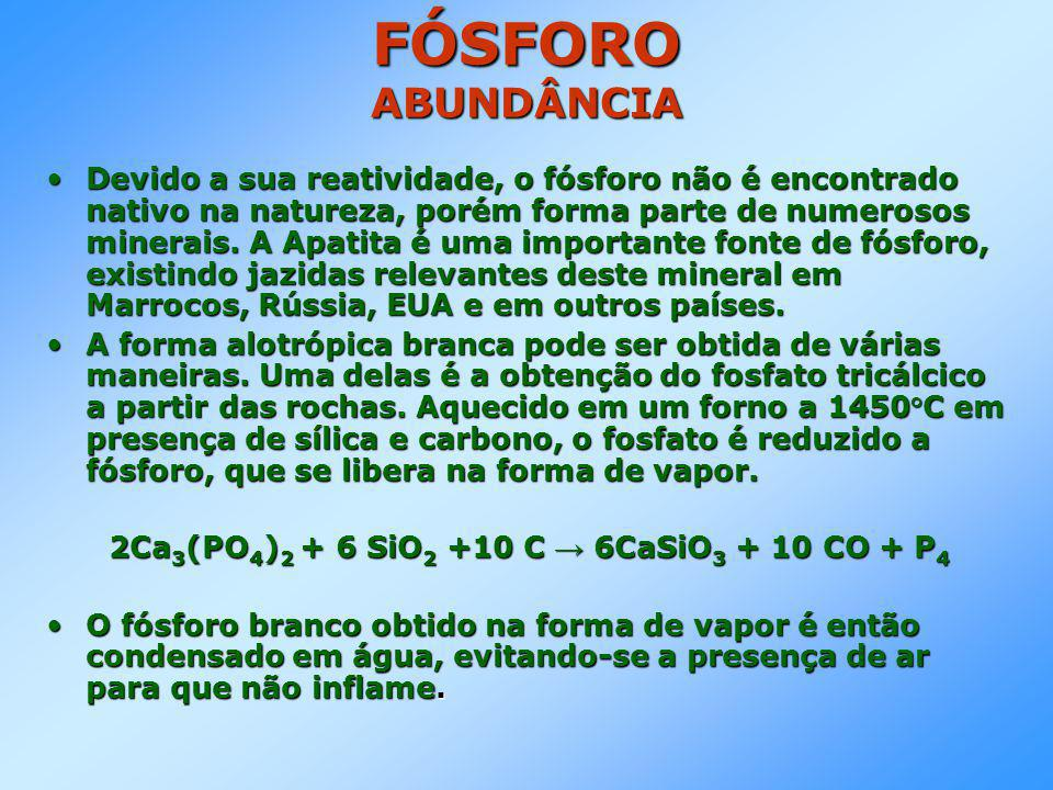 FÓSFORO ABUNDÂNCIA •Devido a sua reatividade, o fósforo não é encontrado nativo na natureza, porém forma parte de numerosos minerais.