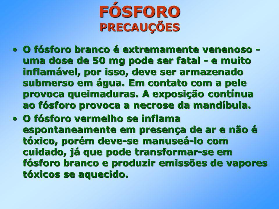 FÓSFORO PRECAUÇÕES •O fósforo branco é extremamente venenoso - uma dose de 50 mg pode ser fatal - e muito inflamável, por isso, deve ser armazenado submerso em água.