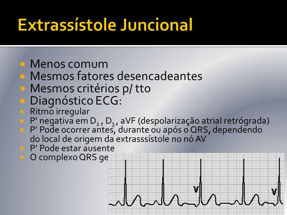  Menos comum  Mesmos fatores desencadeantes  Mesmos critérios p/ tto  Diagnóstico ECG:  Ritmo irregular  P' negativa em D 2, D 3, aVF (despolari