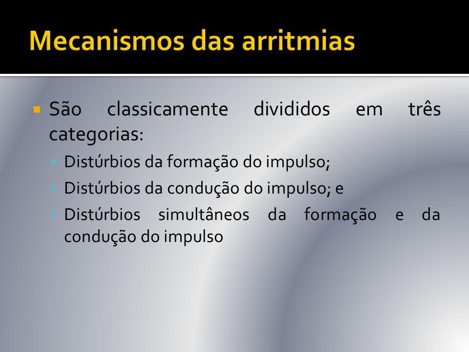  São classicamente divididos em três categorias:  Distúrbios da formação do impulso;  Distúrbios da condução do impulso; e  Distúrbios simultâneos