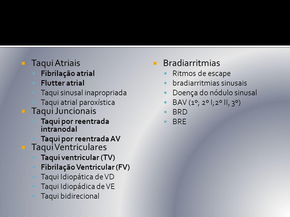  Taqui Atriais  Fibrilação atrial  Flutter atrial  Taqui sinusal inapropriada  Taqui atrial paroxística  Taqui Juncionais  Taqui por reentrada