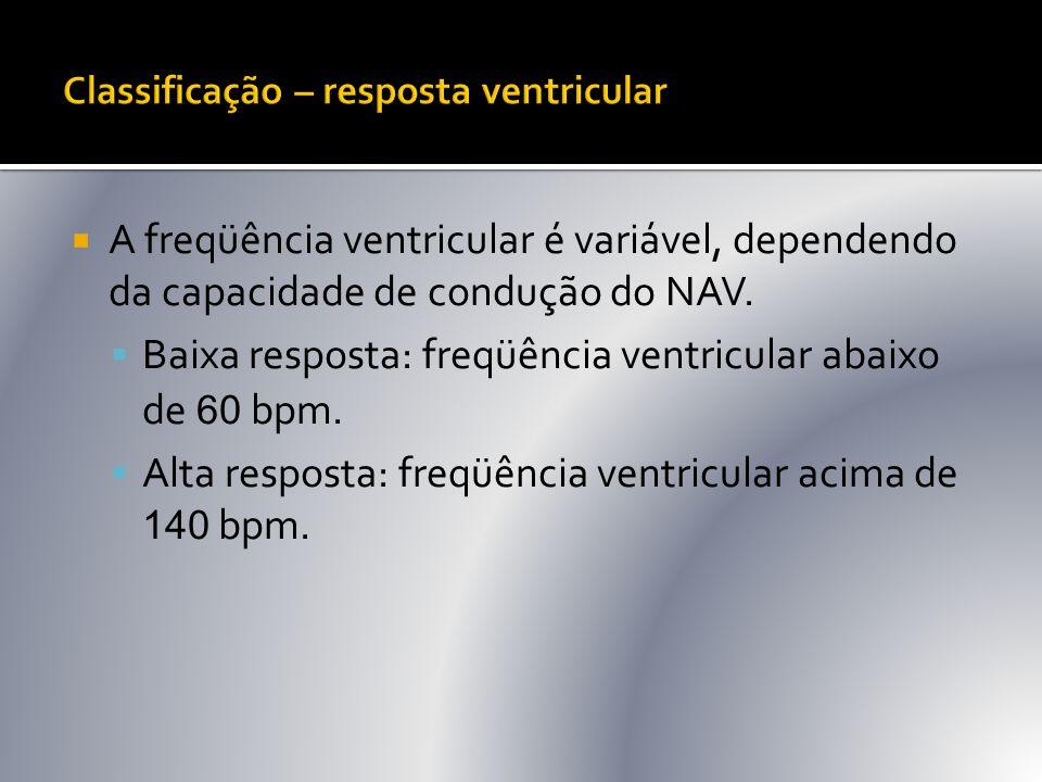  A freqüência ventricular é variável, dependendo da capacidade de condução do NAV.  Baixa resposta: freqüência ventricular abaixo de 60 bpm.  Alta