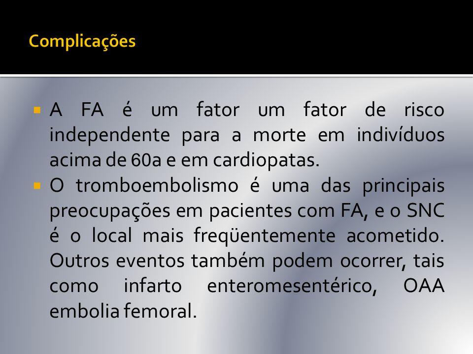  A FA é um fator um fator de risco independente para a morte em indivíduos acima de 60 a e em cardiopatas.  O tromboembolismo é uma das principais p