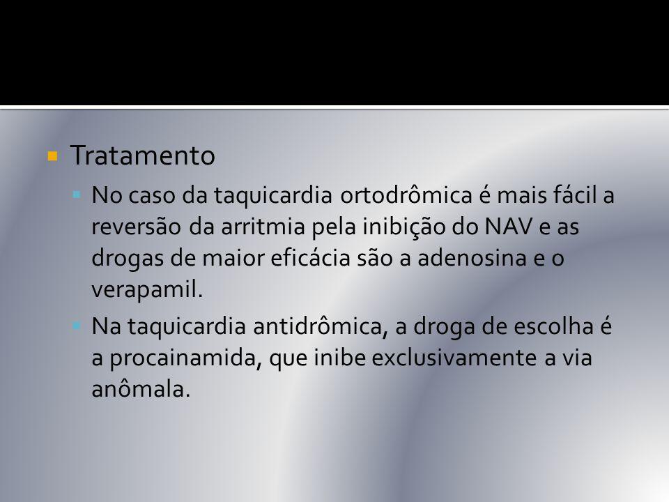  Tratamento  No caso da taquicardia ortodrômica é mais fácil a reversão da arritmia pela inibição do NAV e as drogas de maior eficácia são a adenosi