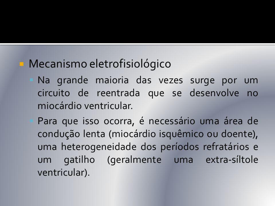  Mecanismo eletrofisiológico  Na grande maioria das vezes surge por um circuito de reentrada que se desenvolve no miocárdio ventricular.  Para que