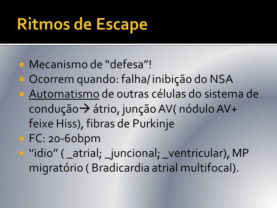 """ Mecanismo de """"defesa""""!  Ocorrem quando: falha/ inibição do NSA  Automatismo de outras células do sistema de condução  átrio, junção AV( nódulo AV"""