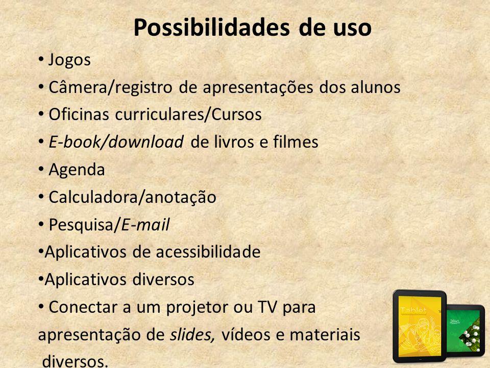 Possibilidades de uso • Jogos • Câmera/registro de apresentações dos alunos • Oficinas curriculares/Cursos • E-book/download de livros e filmes • Agen