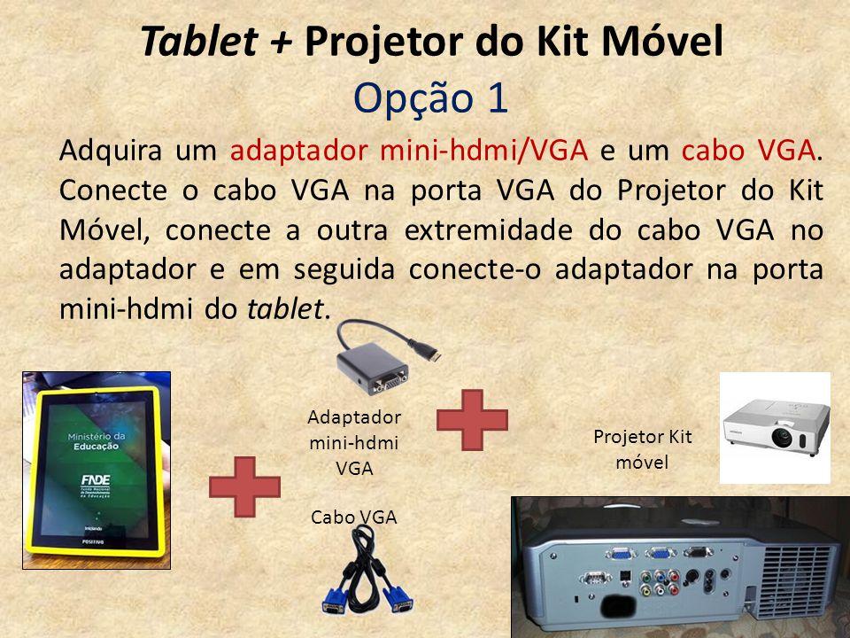 Tablet + Projetor do Kit Móvel Opção 1 Adaptador mini-hdmi VGA Projetor Kit móvel Cabo VGA Adquira um adaptador mini-hdmi/VGA e um cabo VGA. Conecte o