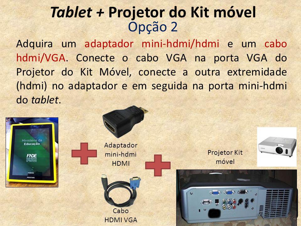 Tablet + Projetor do Kit móvel Cabo HDMI VGA Projetor Kit móvel Opção 2 Adaptador mini-hdmi HDMI Adquira um adaptador mini-hdmi/hdmi e um cabo hdmi/VG