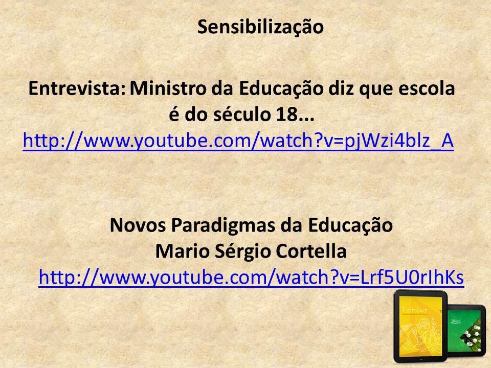 Novos Paradigmas da Educação Mario Sérgio Cortella http://www.youtube.com/watch?v=Lrf5U0rIhKs http://www.youtube.com/watch?v=Lrf5U0rIhKs Sensibilizaçã