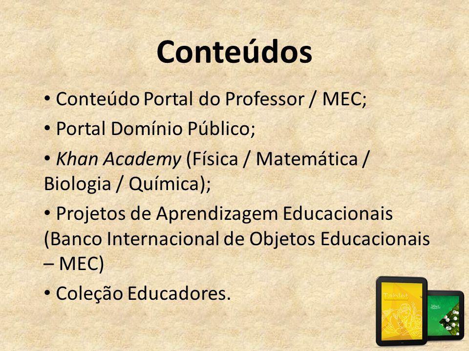 Conteúdos • Conteúdo Portal do Professor / MEC; • Portal Domínio Público; • Khan Academy (Física / Matemática / Biologia / Química); • Projetos de Apr