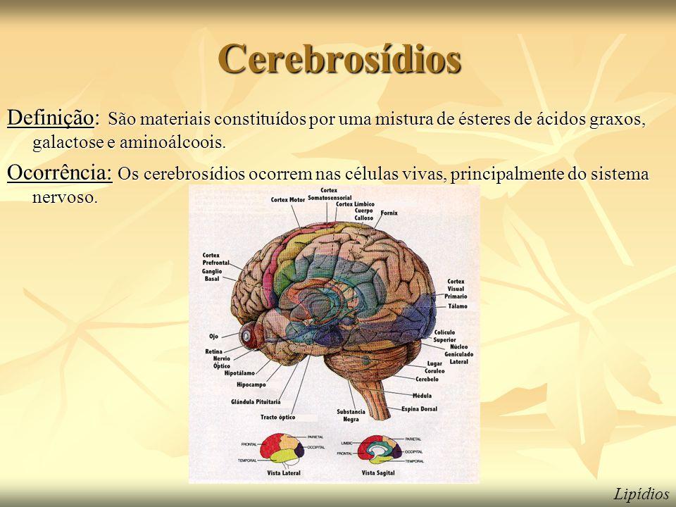 Cerebrosídios Definição: São materiais constituídos por uma mistura de ésteres de ácidos graxos, galactose e aminoálcoois. Ocorrência: Os cerebrosídio