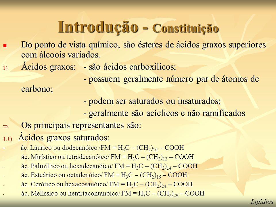 Introdução - Constituição  Do ponto de vista químico, são ésteres de ácidos graxos superiores com álcoois variados. 1) Ácidos graxos: - são ácidos ca