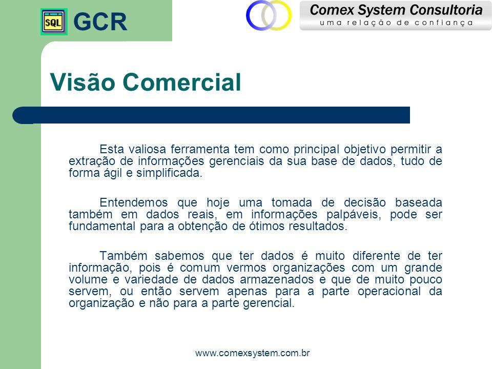 GCR www.comexsystem.com.br Visão Comercial Para transformar dados em informações que criamos o GCR e estamos prontos para ajudá-lo a implantar uma solução na busca por informações valiosas para sua administração.