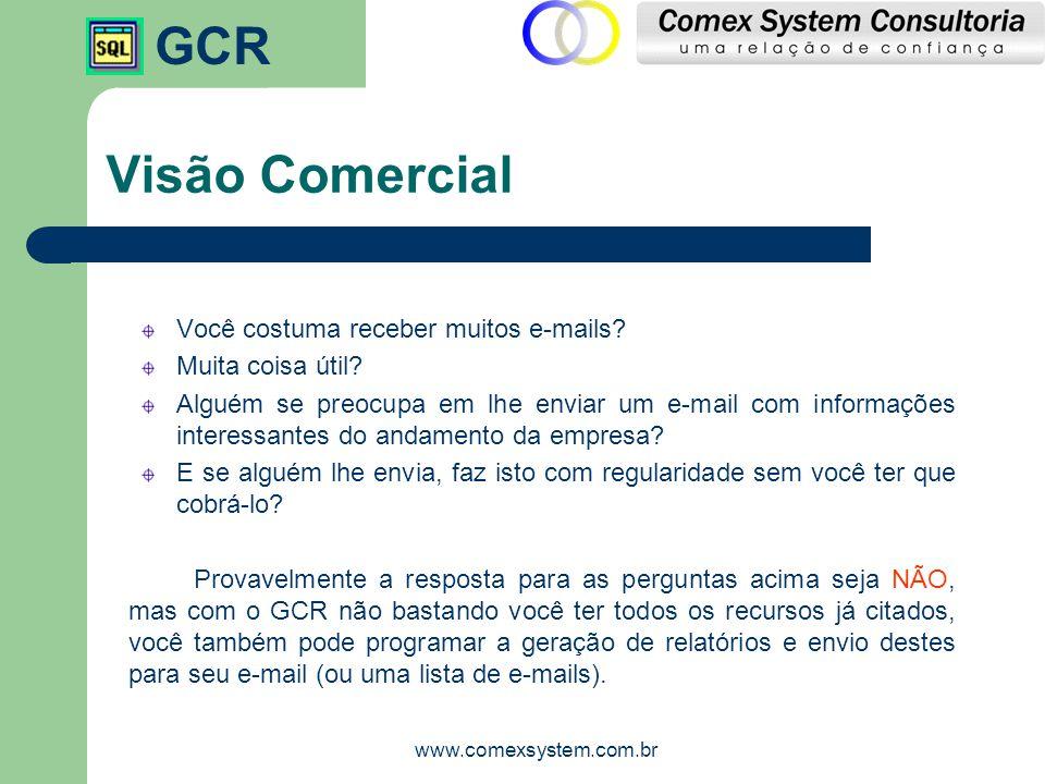 GCR www.comexsystem.com.br Visão Comercial Você recebe o e-mail regularmente com o relatório anexo, evitando qualquer forma de esquecimento de visualizar esta determinada informação.