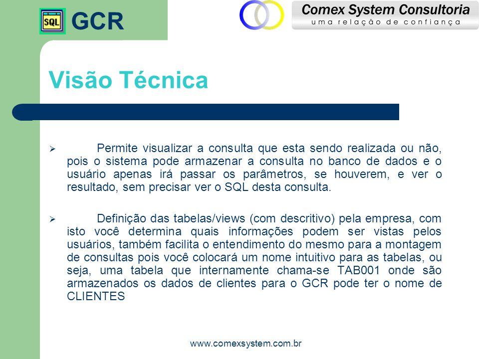 GCR www.comexsystem.com.br Visão Técnica  Permite visualizar a consulta que esta sendo realizada ou não, pois o sistema pode armazenar a consulta no