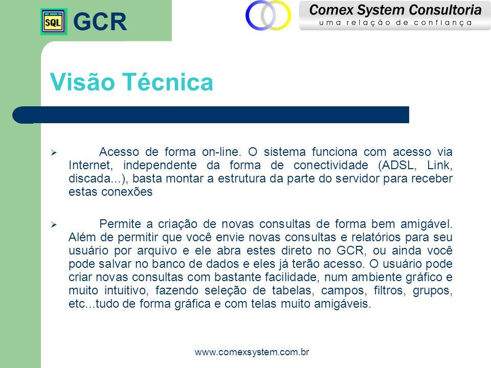 GCR www.comexsystem.com.br Visão Técnica  Acesso de forma on-line. O sistema funciona com acesso via Internet, independente da forma de conectividade