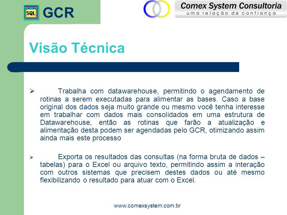 GCR www.comexsystem.com.br Visão Técnica  Possui gerador de relatórios visual de fácil utilização.
