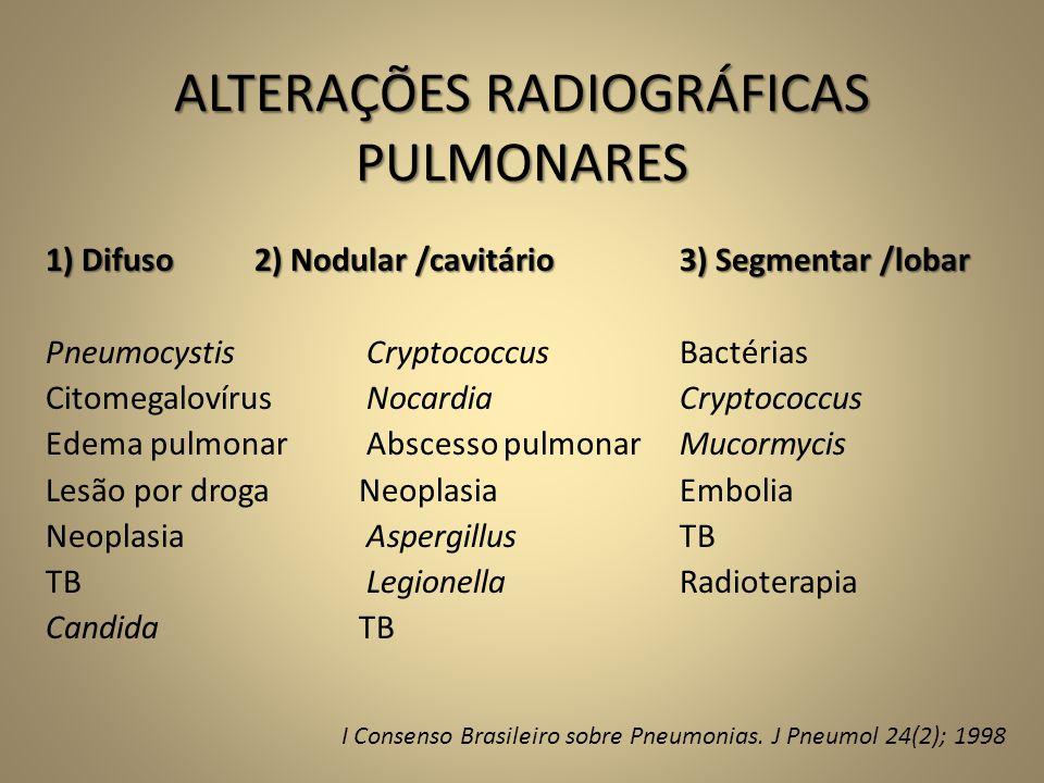 ALTERAÇÕES RADIOGRÁFICAS PULMONARES 1) Difuso2) Nodular /cavitário 3) Segmentar /lobar Pneumocystis Cryptococcus Bactérias Citomegalovírus Nocardia Cr