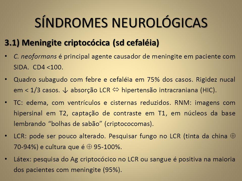SÍNDROMES NEUROLÓGICAS 3.1) Meningite criptocócica (sd cefaléia) • C. neoformans é principal agente causador de meningite em paciente com SIDA. CD4 <1
