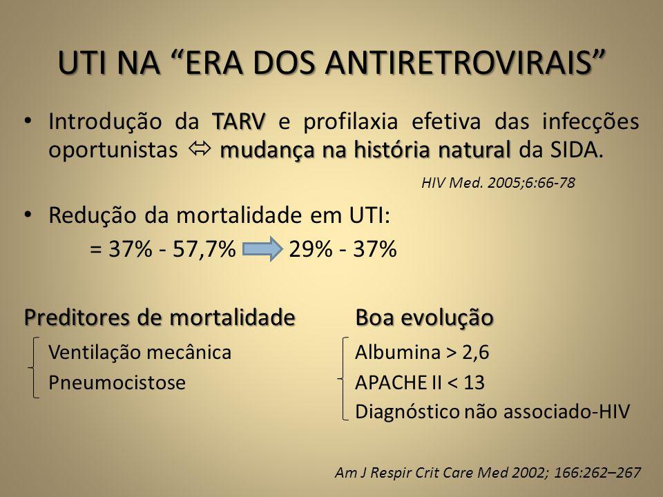 """UTI NA """"ERA DOS ANTIRETROVIRAIS"""" TARV mudança na história natural • Introdução da TARV e profilaxia efetiva das infecções oportunistas  mudança na hi"""