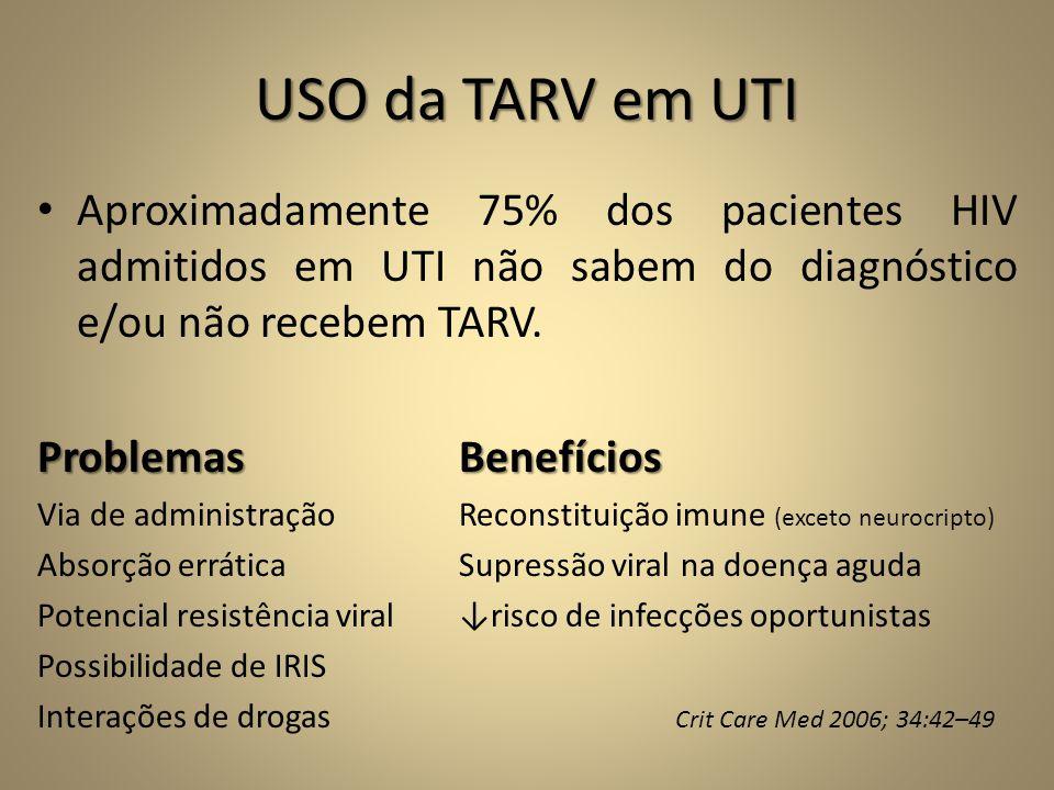 USO da TARV em UTI • Aproximadamente 75% dos pacientes HIV admitidos em UTI não sabem do diagnóstico e/ou não recebem TARV. ProblemasBenefícios Via de