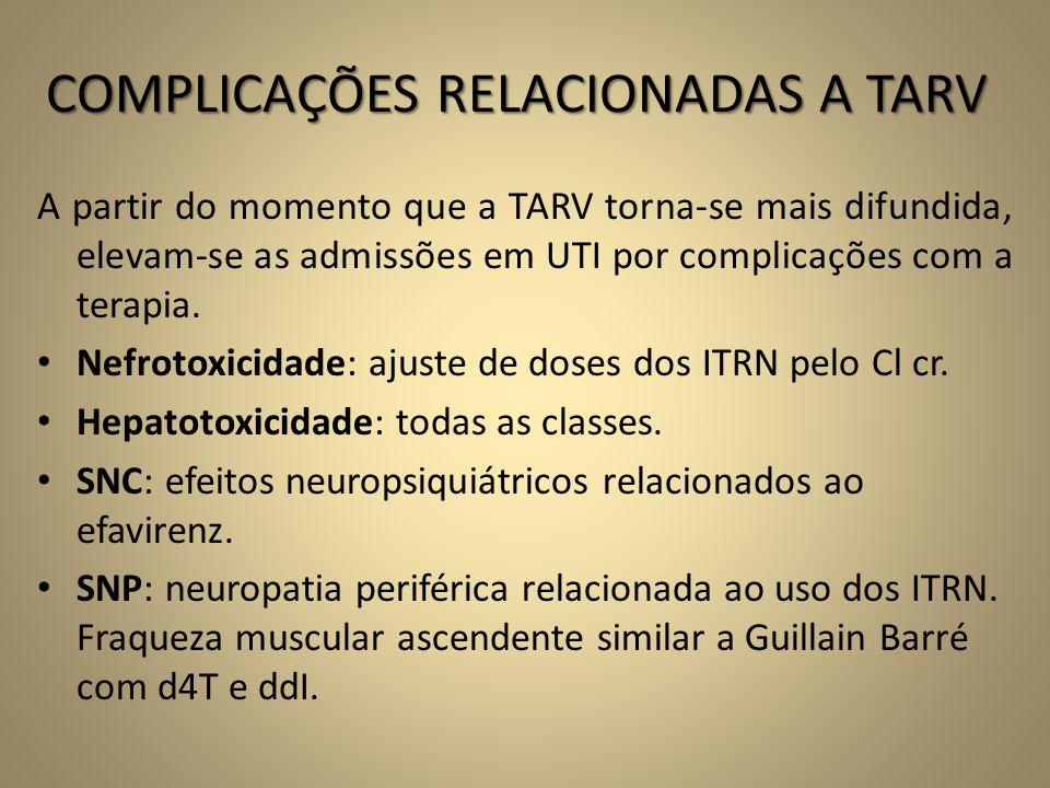 COMPLICAÇÕES RELACIONADAS A TARV A partir do momento que a TARV torna-se mais difundida, elevam-se as admissões em UTI por complicações com a terapia.