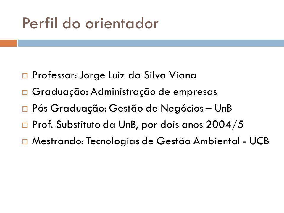 Perfil do orientador  Professor: Jorge Luiz da Silva Viana  Graduação: Administração de empresas  Pós Graduação: Gestão de Negócios – UnB  Prof. S