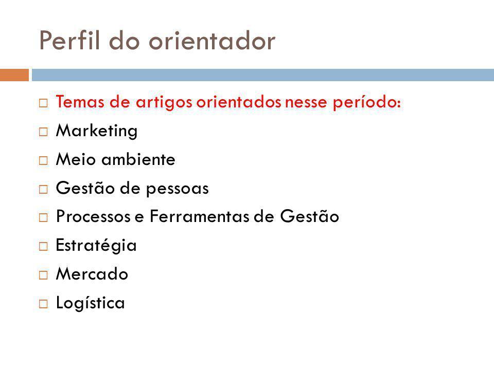 Perfil do orientador  Temas de artigos orientados nesse período:  Marketing  Meio ambiente  Gestão de pessoas  Processos e Ferramentas de Gestão  Estratégia  Mercado  Logística