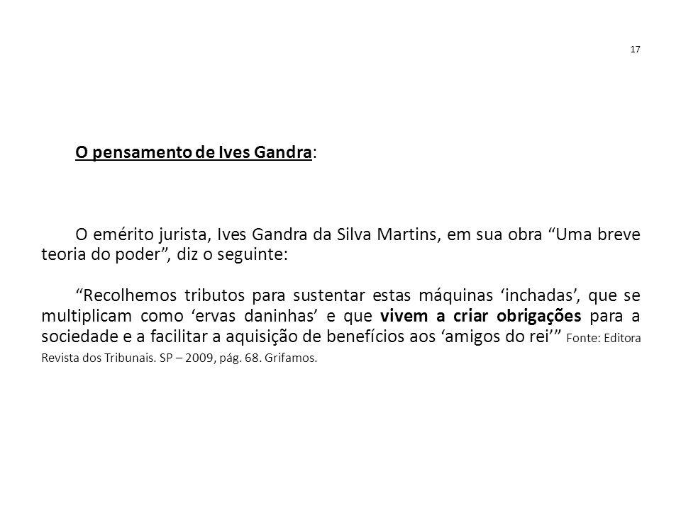 """17 O pensamento de Ives Gandra: O emérito jurista, Ives Gandra da Silva Martins, em sua obra """"Uma breve teoria do poder"""", diz o seguinte: """"Recolhemos"""
