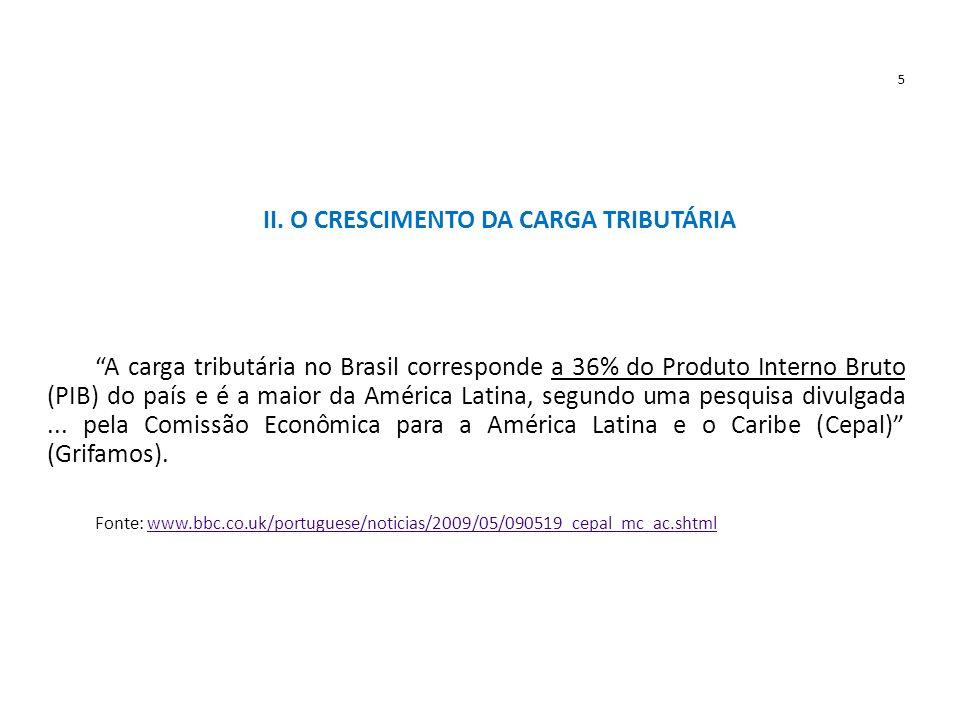 """5 II. O CRESCIMENTO DA CARGA TRIBUTÁRIA """"A carga tributária no Brasil corresponde a 36% do Produto Interno Bruto (PIB) do país e é a maior da América"""