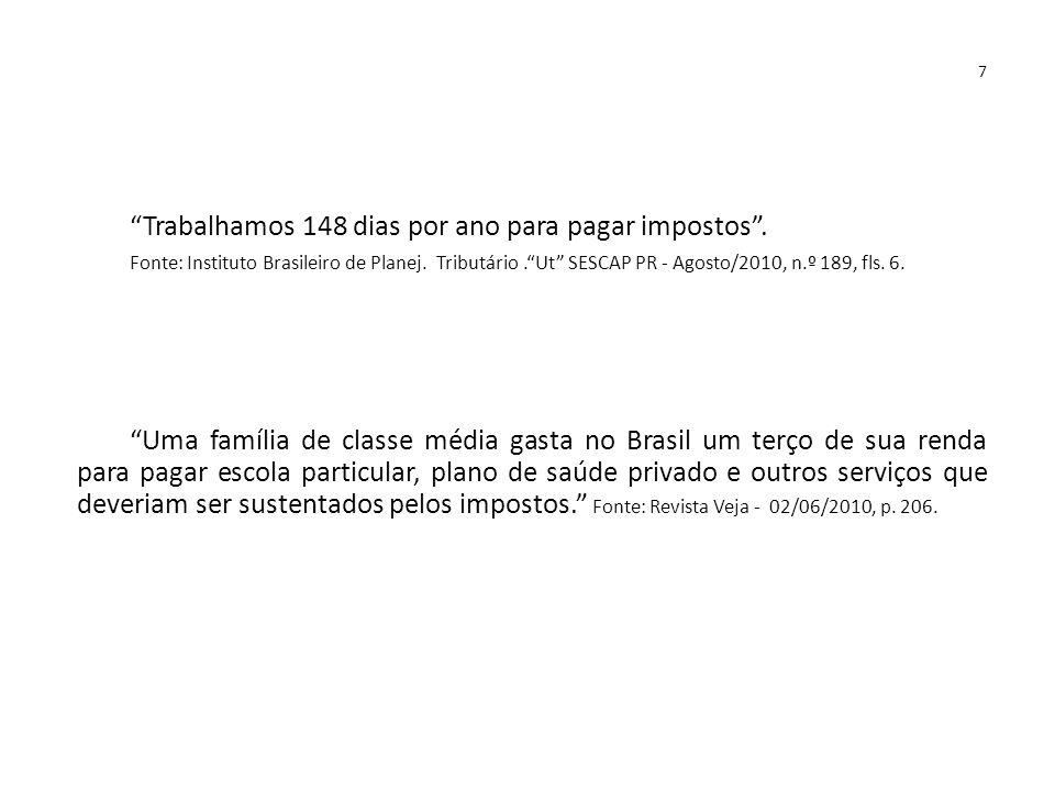 """7 """"Trabalhamos 148 dias por ano para pagar impostos"""". Fonte: Instituto Brasileiro de Planej. Tributário.""""Ut"""" SESCAP PR - Agosto/2010, n.º 189, fls. 6."""
