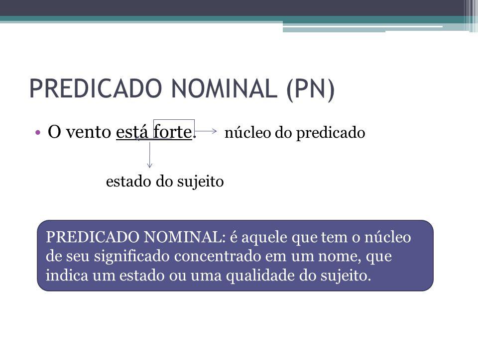 PREDICADO NOMINAL (PN) •O vento está forte. núcleo do predicado estado do sujeito PREDICADO NOMINAL: é aquele que tem o núcleo de seu significado conc