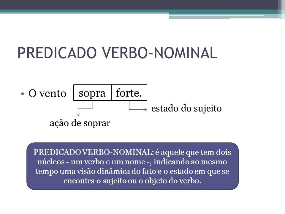 PREDICADO VERBO-NOMINAL •O vento estado do sujeito ação de soprar sopraforte. PREDICADO VERBO-NOMINAL: é aquele que tem dois núcleos - um verbo e um n