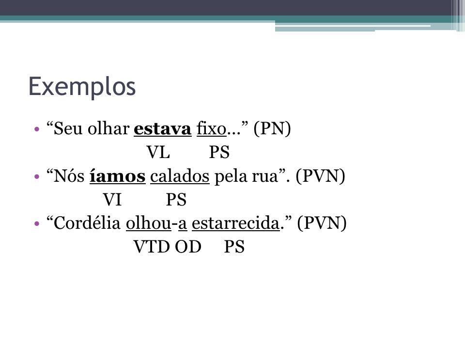 """Exemplos •""""Seu olhar estava fixo..."""" (PN) VL PS •""""Nós íamos calados pela rua"""". (PVN) VI PS •""""Cordélia olhou-a estarrecida."""" (PVN) VTD OD PS"""
