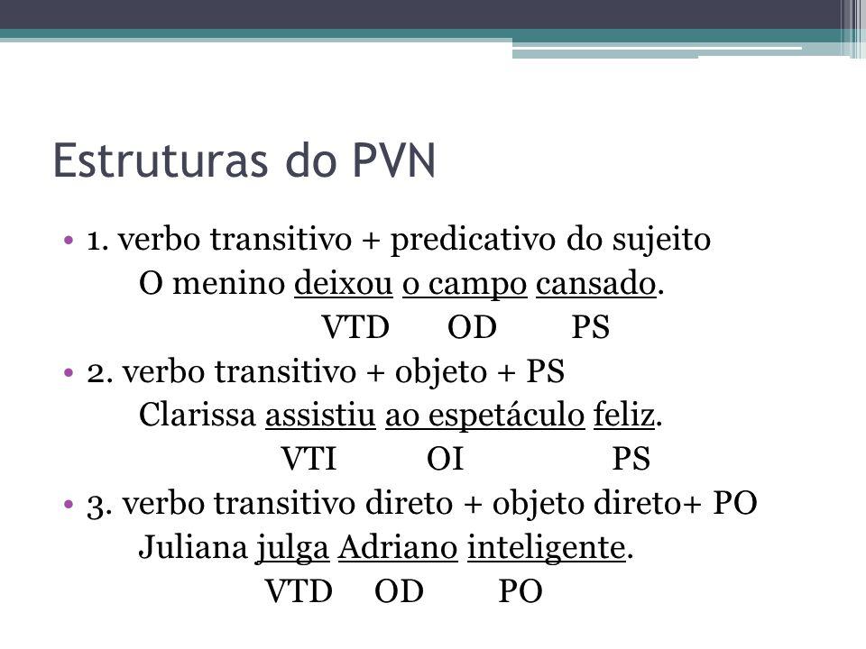 Estruturas do PVN •1.verbo transitivo + predicativo do sujeito O menino deixou o campo cansado.