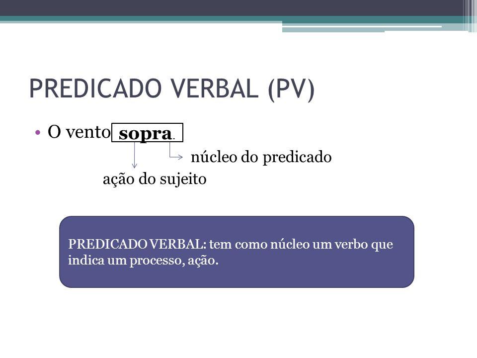 PREDICADO VERBAL (PV) •O vento. núcleo do predicado ação do sujeito sopra. PREDICADO VERBAL: tem como núcleo um verbo que indica um processo, ação.