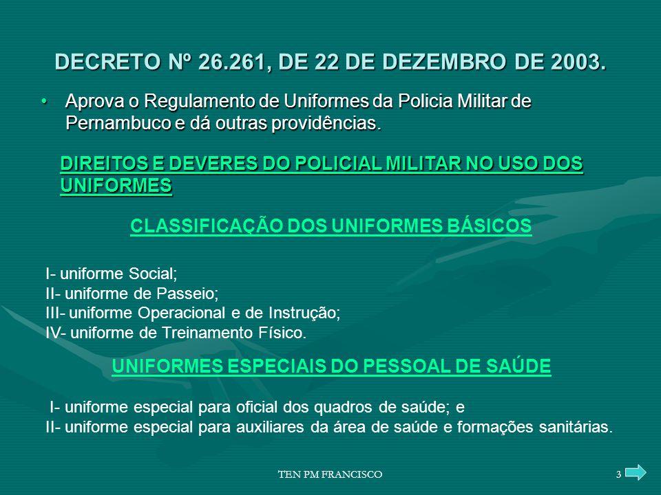 DECRETO Nº 26.261, DE 22 DE DEZEMBRO DE 2003. DIREITOS E DEVERES DO POLICIAL MILITAR NO USO DOS UNIFORMES DIREITOS E DEVERES DO POLICIAL MILITAR NO US