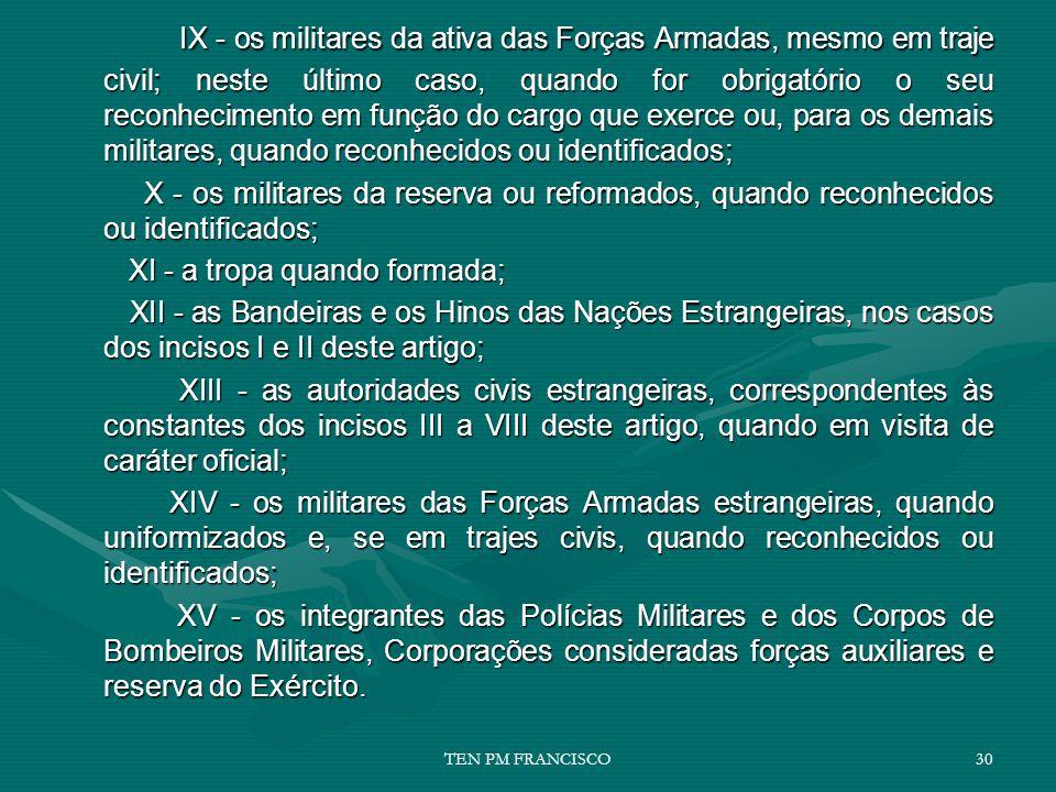 IX - os militares da ativa das Forças Armadas, mesmo em traje civil; neste último caso, quando for obrigatório o seu reconhecimento em função do cargo