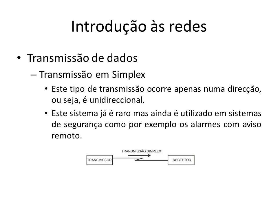 Introdução às redes • Transmissão de dados – Transmissão em Simplex • Este tipo de transmissão ocorre apenas numa direcção, ou seja, é unidireccional.