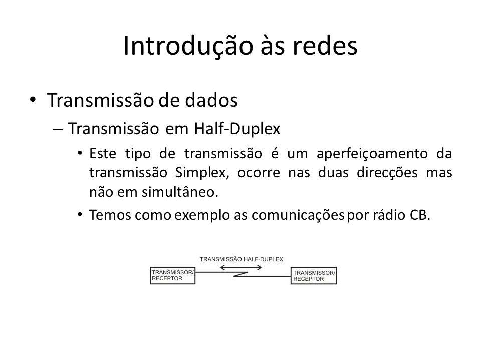 Introdução às redes • Transmissão de dados – Transmissão em Half-Duplex • Este tipo de transmissão é um aperfeiçoamento da transmissão Simplex, ocorre nas duas direcções mas não em simultâneo.