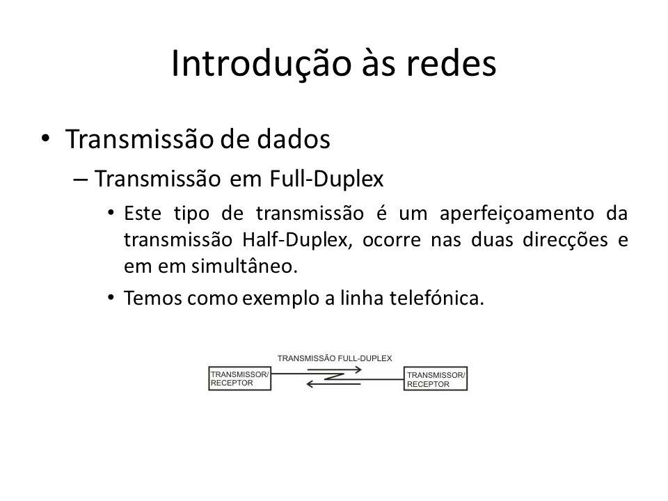 Introdução às redes • Transmissão de dados – Transmissão em Full-Duplex • Este tipo de transmissão é um aperfeiçoamento da transmissão Half-Duplex, ocorre nas duas direcções e em em simultâneo.